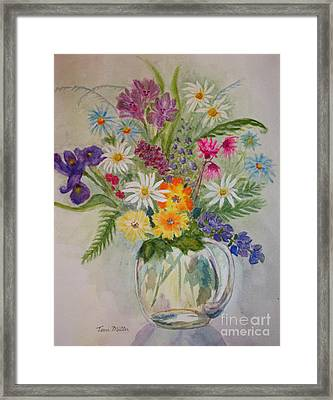 Summer Flowers In Vase Framed Print by Terri Maddin-Miller
