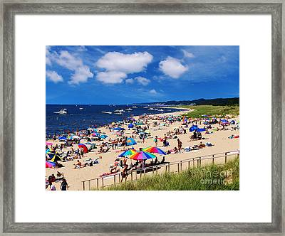 Framed Print featuring the photograph Summer Fun At Oval Beach by Kathi Mirto