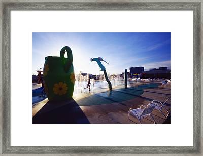 Summer Fun In The Water Park Framed Print