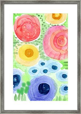 Summer Garden Blooms- Watercolor Painting Framed Print by Linda Woods