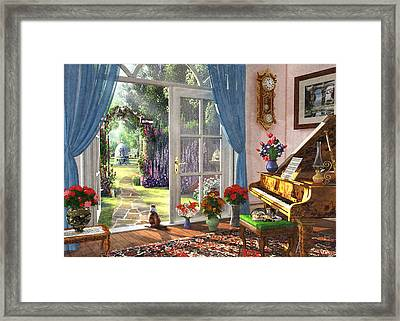 Framed Print featuring the painting Summer Garden View by Dominic Davison