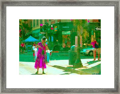 Summer Heatwave Too Hot To Walk Lady Hailing Taxi Cab At Hogg Hardware Rue Sherbrooke Carole Spandau Framed Print by Carole Spandau