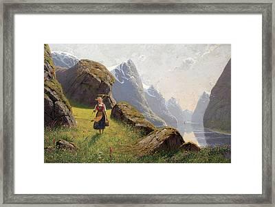 Summer In The Fjord Framed Print by Hans Dahl