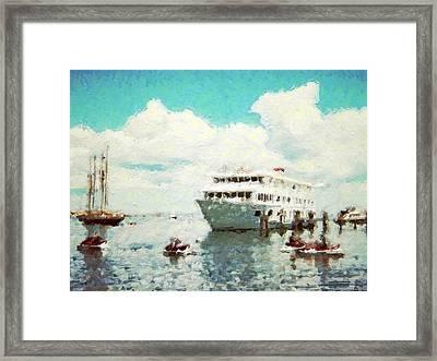 Summer Jet Skis In Harbor - Horizontal Framed Print