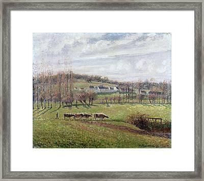 Summer Landscape. Eragny Framed Print by Camille Pissarro