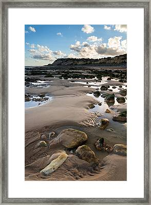 Summer Landscape With Rocks On Beach During Late Evening And Low Framed Print by Matthew Gibson