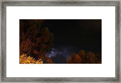 Framed Print featuring the photograph Summer Lightning Storm by Ramona Whiteaker