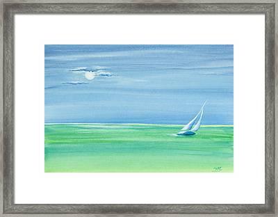 Summer Moonlight Sail Framed Print