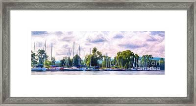 Summer Morning At Johnson's Boatyard Framed Print