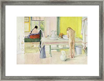 Summer Morning Pub In Lasst Licht Hinin Let In More Light Framed Print by Carl Larsson
