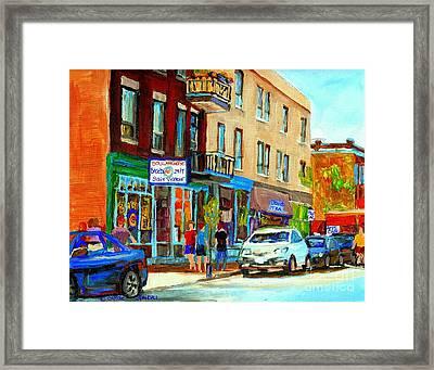 Summer On Saint Viateur Street Strolling By The Bagel Shop And David's Tea Room  Montreal City Scene Framed Print by Carole Spandau