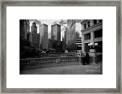 Summer On The Chicago River - Black And White Framed Print