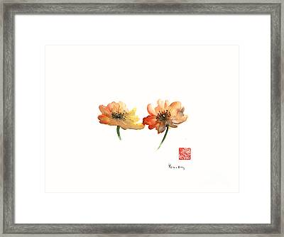Summer Orange Green Flower Flowers Autumn Red Giclee Fine Art Print Of Watercolor Framed Print