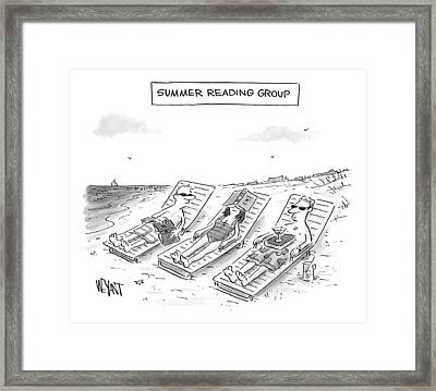 Summer Reading Group -- Three Beach Goers Lounge Framed Print