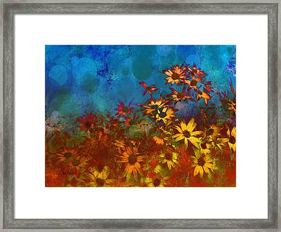 Summer Sizzle Abstract Flower Art Framed Print