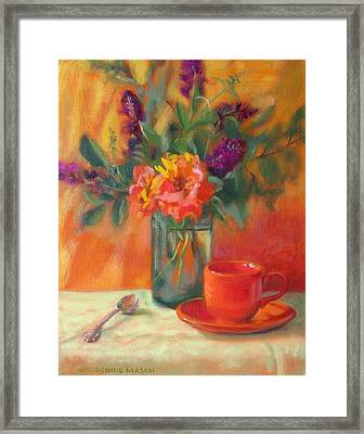 Summer Song- Orange Roses And Butterfly Bush Blooms Framed Print
