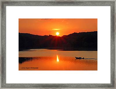 Summer Star Burst Sunset With Signature Framed Print