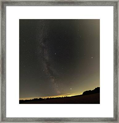 Summer Stars And Light Pollution Framed Print by Eckhard Slawik