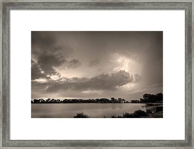 Summer Storm In Black And White Sepia Framed Print