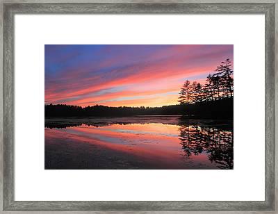 Summer Sunset At Potapaug Pond Quabbin Reservoir Framed Print by John Burk