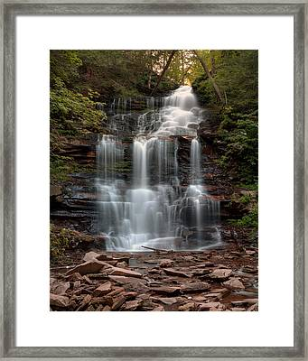 Summer Sunset Over Ganoga Falls Framed Print by Gene Walls