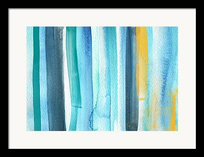 Yellow And Blue Framed Prints