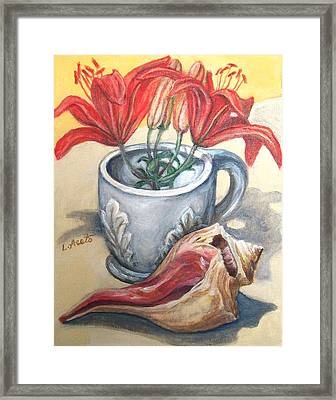 Framed Print featuring the painting Summer Table by Laura Aceto
