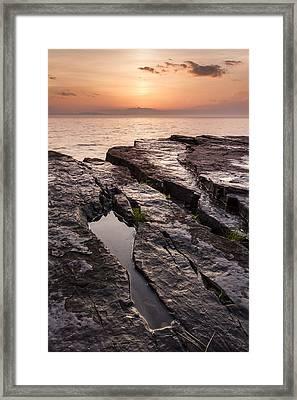 Summer-vermont-lake Champlain-sunset Framed Print
