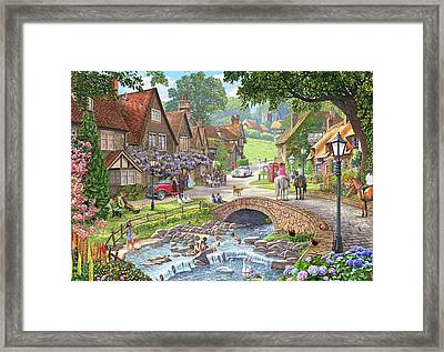 Summer Village Stream ( Part Of Winter, Summer Pair) Framed Print