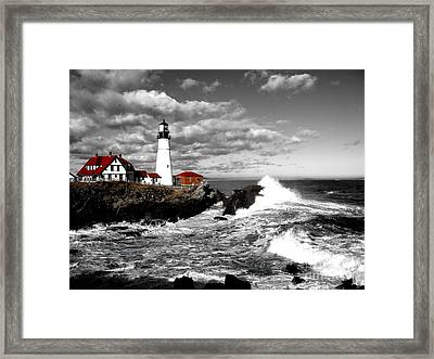 Summer Waves Red Stroke Bw Framed Print