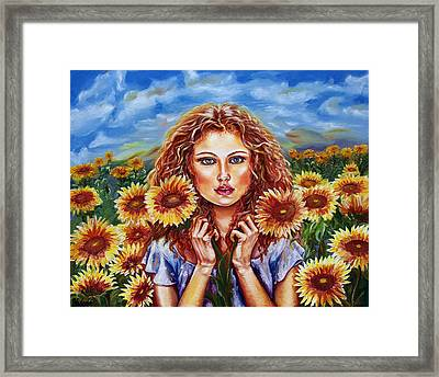 Summers Sunflowers  Framed Print by Yelena Rubin