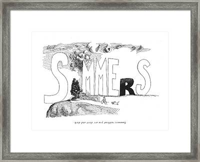 Summers Without You Are Short And Dark Framed Print by Saul Steinberg