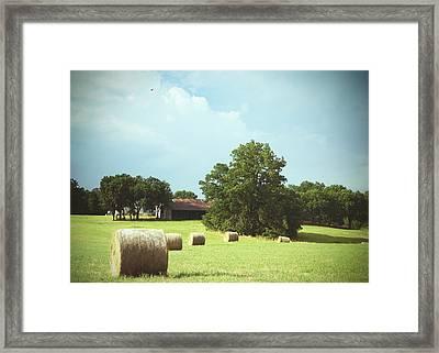 Summertime  Hay Bales  Framed Print by Ann Powell