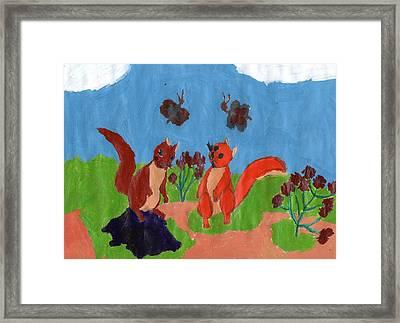 Summertime Squirrels Framed Print by Frances Garry
