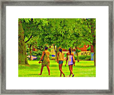 Summertime Walk Through The Beautiful Tree Lined Park Montreal Street Scene Art By Carole Spandau Framed Print by Carole Spandau