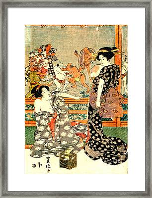 Sumo Wrestling - Full Moon Diptych 1818 Right Framed Print by Padre Art