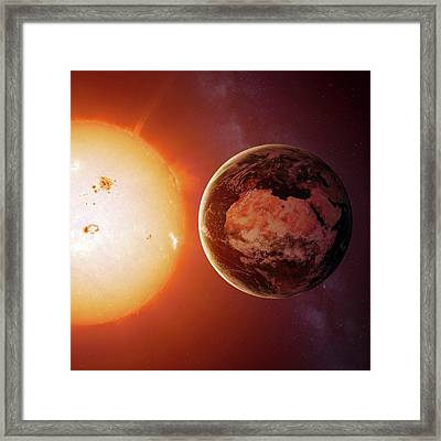 Sun And Earth From Space Framed Print by Detlev Van Ravenswaay