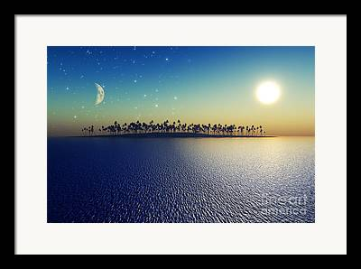 Sea Moon Full Moon Framed Prints