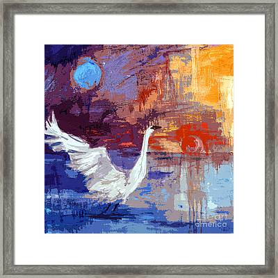 Sun And Moon Swan Rising Framed Print