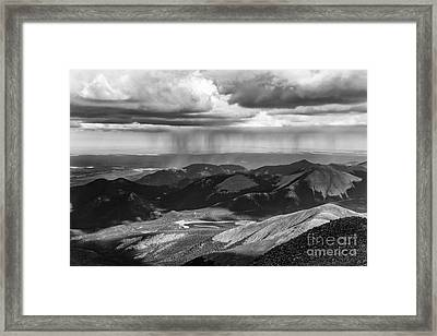 Sun And Rain On Pikes Peak Framed Print
