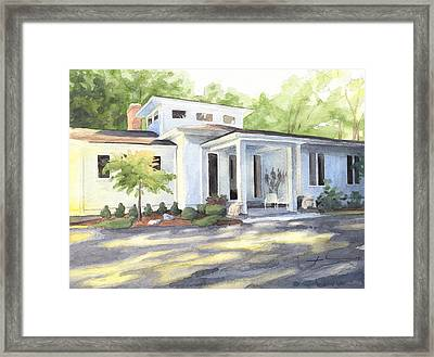 Sun And Shadow House Watercolor Portrait Framed Print by Mike Theuer