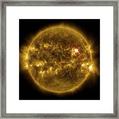 Sun And X1 Solar Flare Framed Print by Nasa/sdo