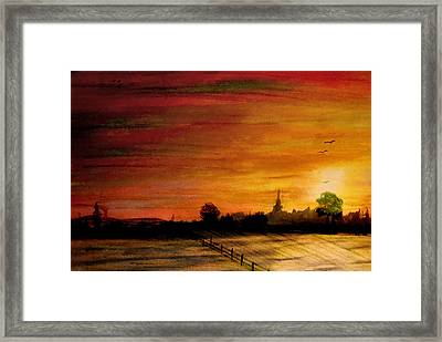 Sun Behind Green Tree Framed Print by R Kyllo