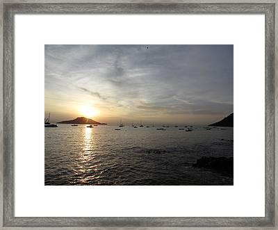 Sun Black Ocean Framed Print