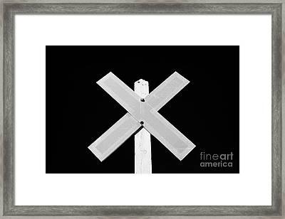 sun bleached railroad crossing sign Saskatchewan Canada Framed Print by Joe Fox