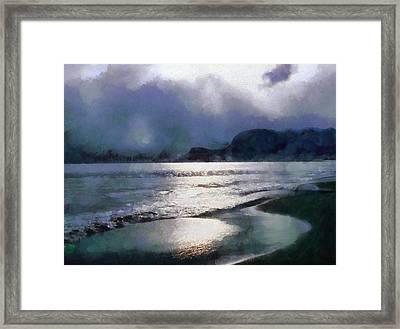 Sun Breaking Through On A Cloudy Day Framed Print