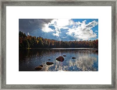 Sun Breaking Through Over Cary Lake Framed Print