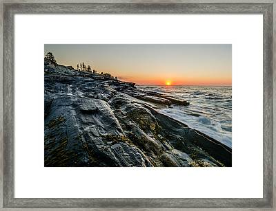 Sun Breaks At Pemaquid Point Framed Print by At Lands End Photography