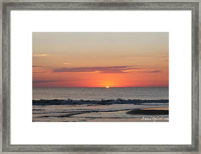Framed Print featuring the photograph Sun Breaks Horizon by Robert Banach