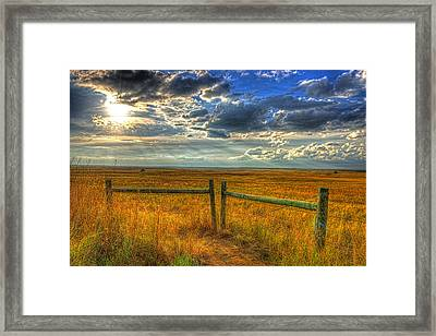 Sun Burst Over The Plains Framed Print by Jim Boardman